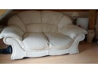 Cream Italian leather 2 x 2 seater sofas and armchair
