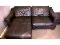 real leather 3 piece suite with arm chair,chez lounge and footstool