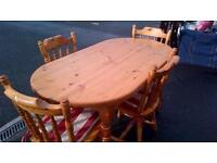Pine,Farmhouse,table and chairs.