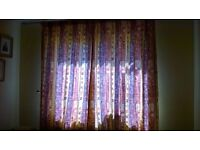 """Gold, Red, Orange, Warm coloured Curtains- 67"""" drop - 65"""" wide"""