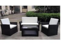 Rattan garden/conservatory Sofa set with Table with spare glass top
