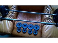 2 x barbells with various weights
