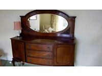 Antique Victorian Mahogany Side Board With Mirror Made In The 1850s