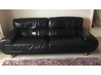 Black leather large sofas