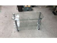 Glass & chrome tv table - excellent condition