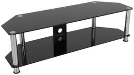 2ND HAND BLACK GLASS AND CHROME LEGS TV STAND - PERFECT CONDITION!
