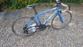 Bike, Blue Carrera Zelos Jr, small road bike.