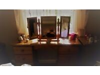 Pine Dressing table and triple mirror, plus 3 draw dresser, plus 2 bedside cabinets.