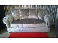 Sofas in Crushed Velvet, Brand spanking new and unused, still packed, can deliver.