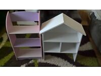 Dolls house doll house shelf and book shelves pink and white collection only