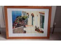 Framed Mediterranean style print 70x50cm in IKEA pine frame