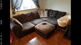 Corner Sofa Brown Fabric & 2 Seat Matching Sofa