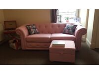 Pink Chesterfield Three Seater Sofa Storage Footstool Included