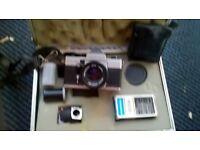 Praktica MTL50 30ml camera, vintage, including lenses, flash guns, carry case