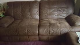 Three seater suede sofa and chair
