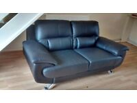 Black Leather Settee x 2