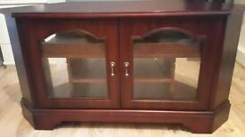 Tv stand cabinet dark wooden entertainment unit