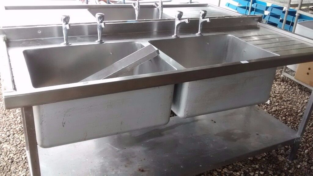 STAINLESS STEEL CATERING DOUBLE BOWL SINK 1.8 M WITH SHELF BELOW