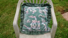 Pair of cushions, velvety man made material, textured pattern, zip, excellent condition
