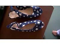 Ladies Stars Wedge Heel Size 5 Shoes
