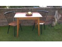 RETRO 50s 60s KITCHEN TABLE VINTAGE WOOD EFECT FORMICA TEAK EDGING & LEGS, VGC