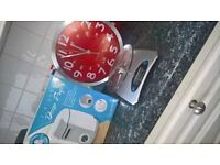 deep fryer, clock and scales