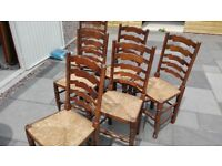 Old ladder back chairs x 6 poss del.