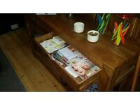 Solid wood console table/coffee table with two drawers for sale, good condition,only £120!
