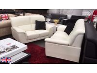 MIAMI LEATHER SUITE 3 SEATER & 2 SEATER - BLACK - BROWN - CREAM - FAST DELIVERY NATIONWIDE
