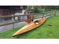 Gorgeous antique vintage handmade wooden kayak
