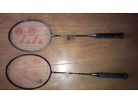Badminton rackets (Yonex) with covers and Yonex sports bag