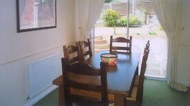 Solid Oak Farmhouse Dining Set with 6 Chairs