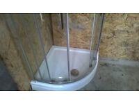Heavy Quadrant Corner shower base, 800 x 800, Glass sliding doors.