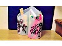 CUSTOMISABLE PENCIL POTS. YOU CAN CHOOSE 1 OR MORE FROM THE DESIGNS BELOW.