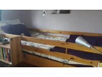 Kids Wooden Mid Sleeper bed with pull out desk and chest of drawers