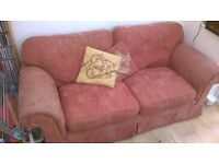 Large three seater settee, old and well loved.