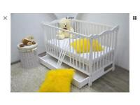 White Cot Bed with drawer and mattress