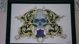 Skull painting size 25 x 36