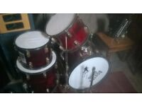 partial drum set (inc 1 bass drum and 3 other drums with 2 cymbal stands)