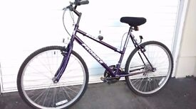 "Ladies 26"" bike, purple, shimano gears"