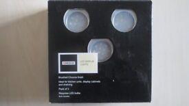 NEW Homebase Kitchen Unit LED Display Lights. Pack of 3 Brushed Chrome finish