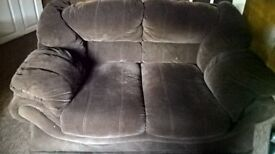 two seater brown velour settee good condition