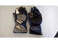 Alpine-Stars Blue/Grey/White Leather SP3 motorcycle gloves - Size Medium