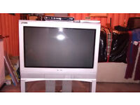 "Toshiba 26"" CRT television with its own stand and Freeview box"