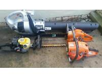 petrol garden tools chainsaw hedg cutter and blower