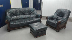 Leather sofa, chair, footstool suit - navy green // free delivery