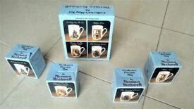 Norman Rockwell 4 Collector's Mug Set trimmed in 24 Karat Gold