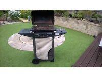 Gas BBQ with additional burner and gas bottle.