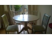 Pedestal Wooden Table and Pastel Chairs
