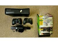 Xbox 360 kinect with selection of games